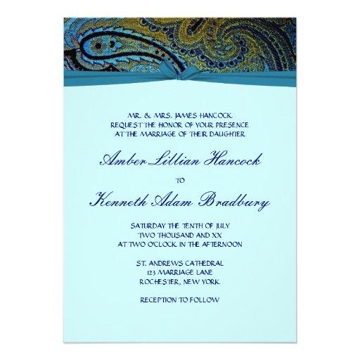 Peacock Paisley Teal Blue Wedding Invitations