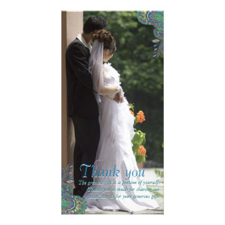 Peacock Paisley Wedding Thank You Photo Cards