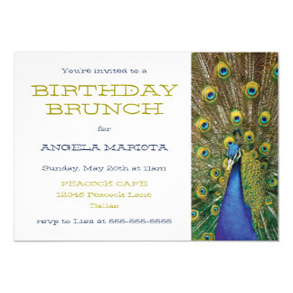 Peacock Party Birthday Brunch Card