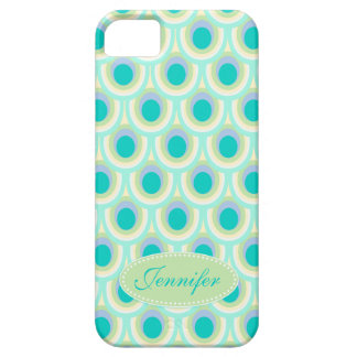 Peacock pattern mint aqua green name iphone 5 case