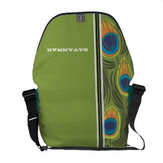 Peacock Pattern Racing Stripe Messenger Bag