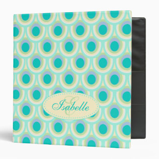 Peacock patterned aqua mint add your name folder