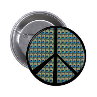 Peacock Peace Sign Pinback Button