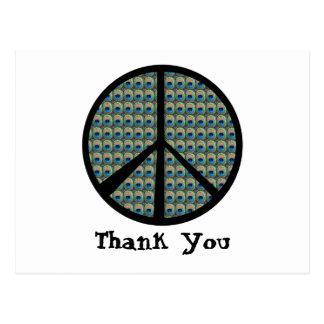 Peacock Peace Sign Postcard