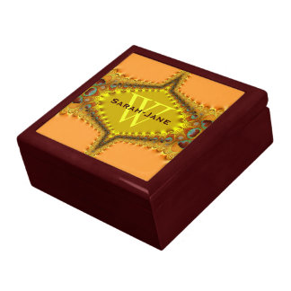 Peacock Peach Gold Satin Lace Monogram Gift Box