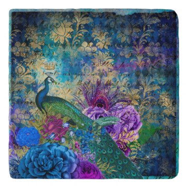 Peacock Peacocks Feathers French Teal Purple Trivet