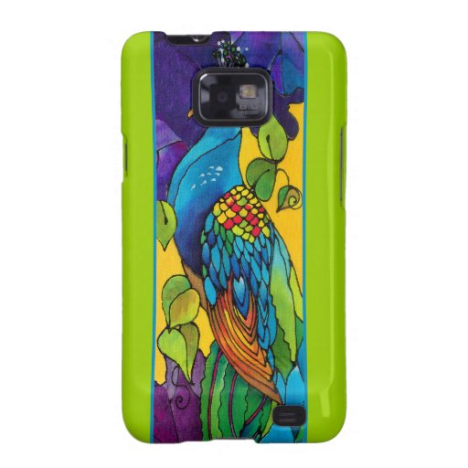 Peacock Peafowl Silk Painting Samsung Galaxy S Case