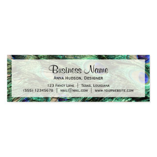 Peacock (Peafowl) Tail, Feathers - Green Blue Double-Sided Mini Business Cards (Pack Of 20)
