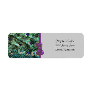 Peacock (Peafowl) Tail, Feathers - Green Blue Return Address Labels
