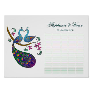 Peacock peahen 200 Guests poster -Kantha