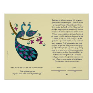 Peacock-Peahen in Love ketubah, ivory Poster