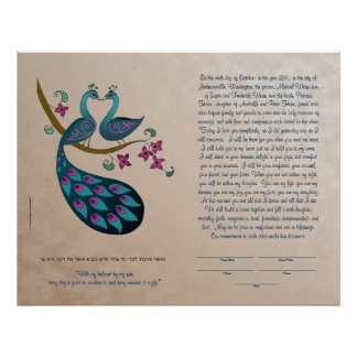 Peacock-Peahen in Love ketubah, mauve Poster