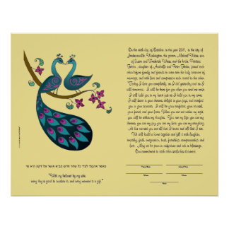 Peacock-Peahen in Love ketubah, straw Poster