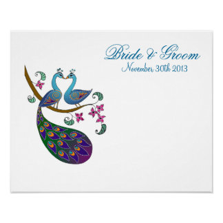 Peacock Peahen (Kantha) Guest Signature Poster