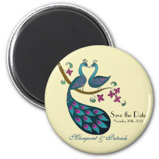 Peacock peahen save the date, ivory 2 inch round magnet