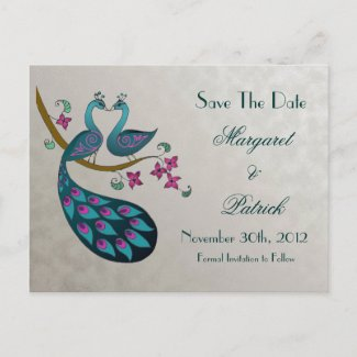 Peacock-Peahen Save the Date Postcard, silver