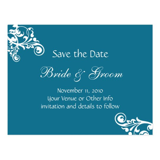 Peacock Personalized Flourish Save the Date Postcard
