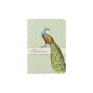 Peacock Personalized Passport Holder