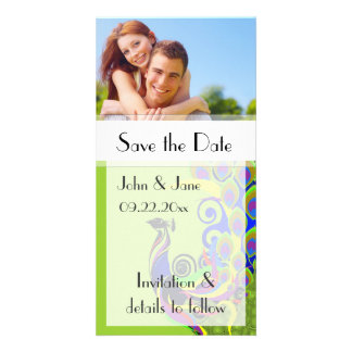 """Peacock/photo  """"Save the Date"""" Photo Greeting Card"""