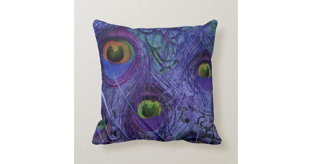 Peacock Pillow Modern Animal Pattern Purple Blue Zazzle