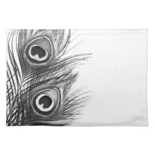 peacock placemat black and white zazzle. Black Bedroom Furniture Sets. Home Design Ideas