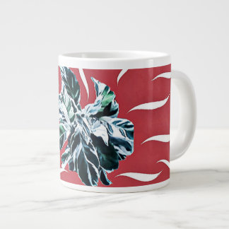 Peacock Plant,  red and white mug