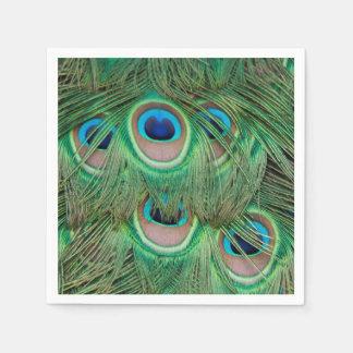 Peacock plumage disposable napkins