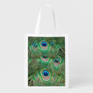 Peacock plumage reusable grocery bag