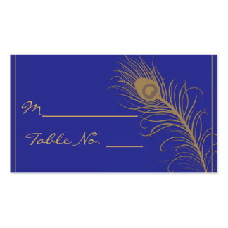 Peacock Plume in Gold and Navy Blue Place Card Business Card