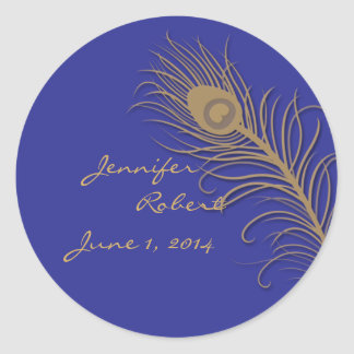 Peacock Plume in Gold and Navy Envelope Seal Classic Round Sticker