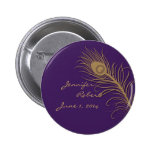 Peacock Plume in Gold and Plum 2 Inch Round Button