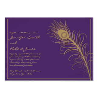 "Peacock Plume in Gold and Plum Invitation 5"" X 7"" Invitation Card"
