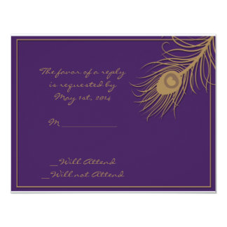"Peacock Plume in Gold and Plum Response Card 4.25"" X 5.5"" Invitation Card"