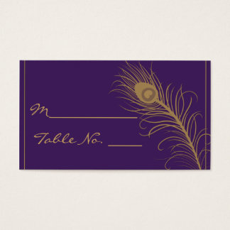 Peacock Plume in Gold and Purple Plum Place Card