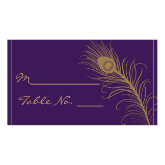 Peacock Plume in Gold and Purple Plum Place Card Business Card