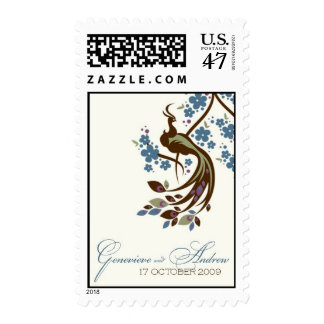 Peacock Pride for Genevieve and Andrew Postage Stamp