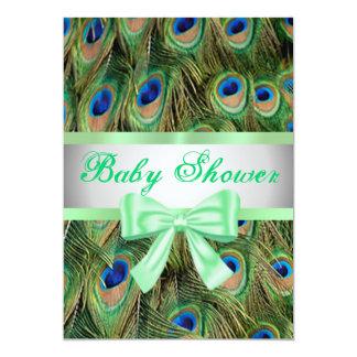 Peacock Print Green Bow Baby Shower Invitation