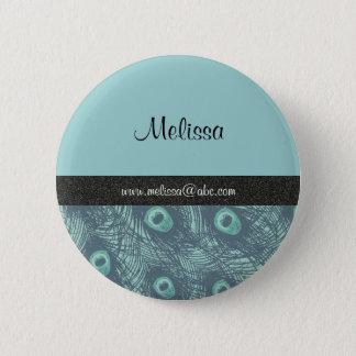 Peacock Print Name Template Button/Lapel Pin