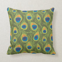 peacock print throw pillow