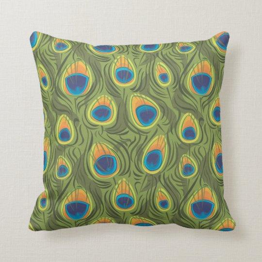 peacock print throw pillow