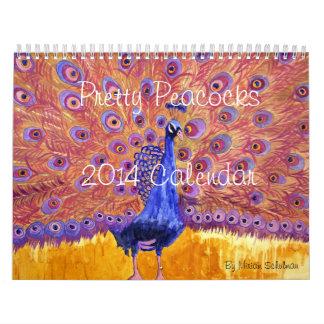 Peacock Printed Art Wall Calendar 2014