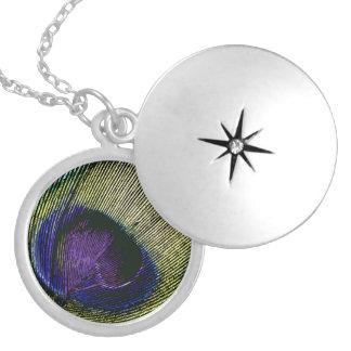 Peacock purple birthday party round locket necklace