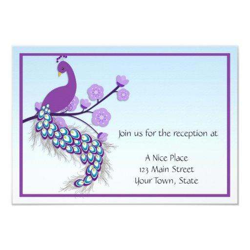 "Peacock Purple Reception Card 3.5"" X 5"" Invitation Card"