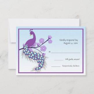 Peacock Purple RSVP invitation