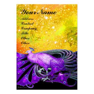 PEACOCK purple yellow black sparkle Business Card