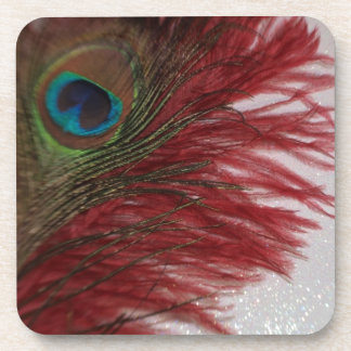 Peacock Red and White Drink Coasters