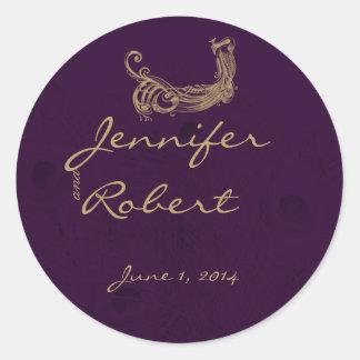 Peacock Regency in Purple Envelope Seal Classic Round Sticker