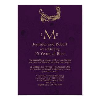 Peacock Regency in Purple Wedding Anniversary Card