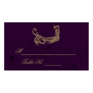 Peacock Regency in Purple Wedding Place Card Business Card