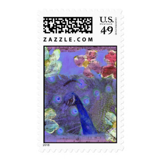 Peacock Rondo Music Floral postage stamp